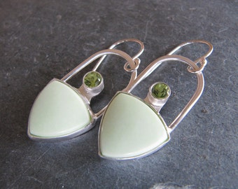 Earrings of Citron Chrysoprase and Peridot in Sterling Silver