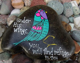 Hand Painted Idaho Rock-Acrylic Original,Crazy Bird-Under His Wings-Scripture-Teal, turquoise, pink, Psalm,Paper Weight, shelf sitter