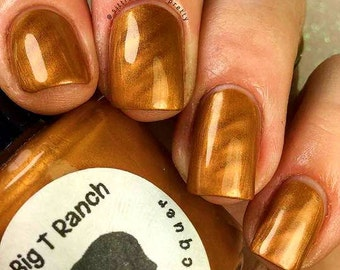 "Magnetic Nail Polish - Metallic Gold - ""Topaz"" - Magnet Included - Full Size 15ml Bottle"