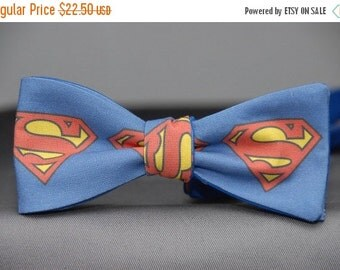 Big Superman Shield on Blue  Bow tie
