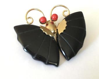 Vintage Signed Black Jade Butterfly Pin Brooch with Coral Eyes