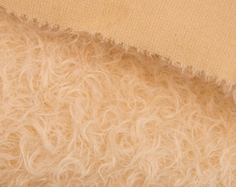 Mohair fabric for teddy bears, Intercal 380 s/cm color 528 S with Cream fibers- curly semi sparse