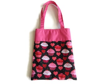 Small Fabric Valentine Gift Bag/Goodie Bag - Cupcakes