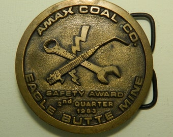 Amax Coal Company Eagle Butte Mine Brass Belt Buckle Safety Award 3rd Quarter 1983 Round Belt Buckle Spec Cast Inc. Rockford Il 61111