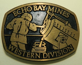 Echo Bay Mines Western Division Belt Buckle Dyna Buckle Provo Utah Solid Brass Made in the U.S.A. Smelter