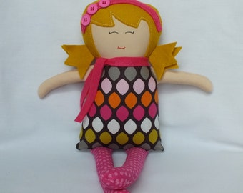 Rag doll, soft doll, cloth doll, handmade doll, doll, gift for a girl, yellow hair, polka dots, ready to ship, fast shipping