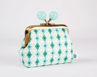 Metal frame coin purse with color bobbles - Facets in green - Color mum / Japanese fabric / Kim Kight / Cotton and Steel / aqua mint blue