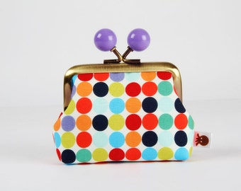 Metal frame coin purse with color bobbles - Dotties in red - Color mum / Little dots / green aqua orange black purple turquoise lime