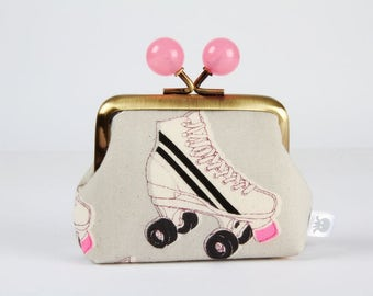Metal frame coin purse with color bobbles - Roller rink in neon pink - Color mum / Cotton and Steel / Melody Miller / Black and white / Grey