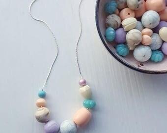 NECKLACE CLEARANCE painting eggs necklace - vintage lucite - spring necklace - tulip peach aqua lavender