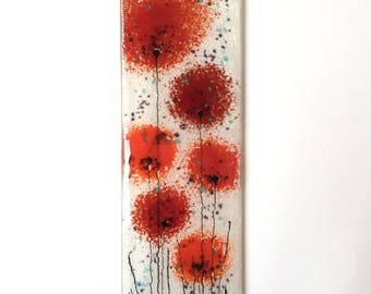 Red Flowers Fused Glass Wall Art - A glass picture made from art glass with a background of off white and red poppy flowers - EH 578