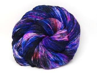 "Glam Rock Sparkle Sock Yarn - ""Galaxy"" -  Handpainted Superwash Merino - 438 Yards"