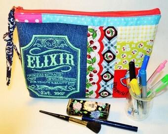 Trousse cosmétique,trousse zippée,rangements toilette,maquillage,Trousses de toilette,pochette crayon,Organisation,cadeau,plumier,sac livre