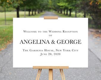 Printable Wedding Sign, ANGELINA+GEORGE, Black White, Wedding Welcome Sign, Custom Wedding Signs, Wedding Decor, Wedding Printables, Poster