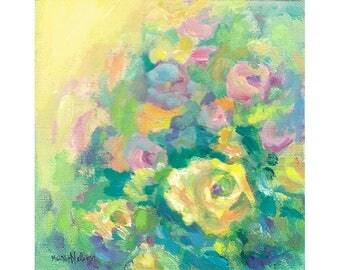 Flower Garden Art, Original Painting, Small Canvas, Contemporary Design, Flower Medley, Bright Yellow, Water Media, Floral Wall Decor, 6 x 6