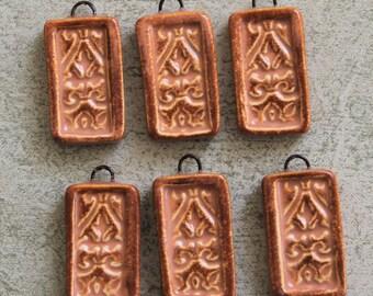 Rustic Terra Cotta Intricate Pattern Ceramic Jewelry Charms (2 pc.)