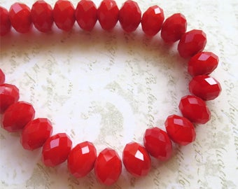 Red faceted glass beads