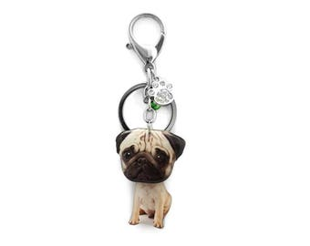 Cute Tan Pug Puppy Dog Shaking Head Keychain / Bag Charm - SB050-BK15 / Pug keychain / Pet loss / Dog ID tag / Pet memorial / Pug lover