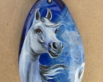 White Grey Arabian Horse Art on Blue Agate Hand Painted Pendant Necklace Sterling Silver Equestrian Gift