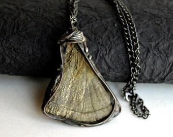 OOAK Wire Sculpted Sun Pyrite Pendant - Stained Glass Jewelry