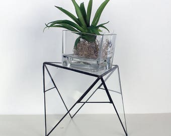 Trendy Modern Geometric Plant or Candle Stand/ Terrarium- Tabletop -Stained Glass Decor - Home Decor