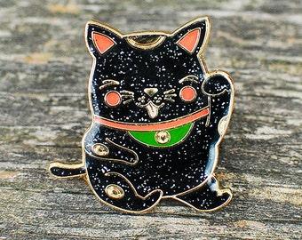 Lucky Maneki Lapel Pin (black sparkle)