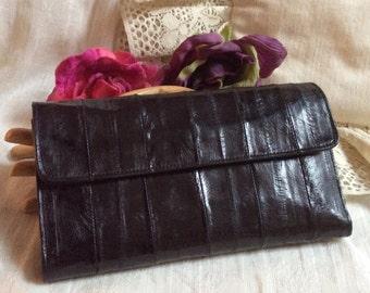 Vintage black eel skin clutch wallet, multi pocket card slots zip pockets black clutch, made Korea black eel skin clutch wallet
