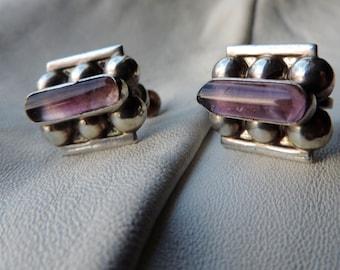 amethyst sterling screwback earrings mexico