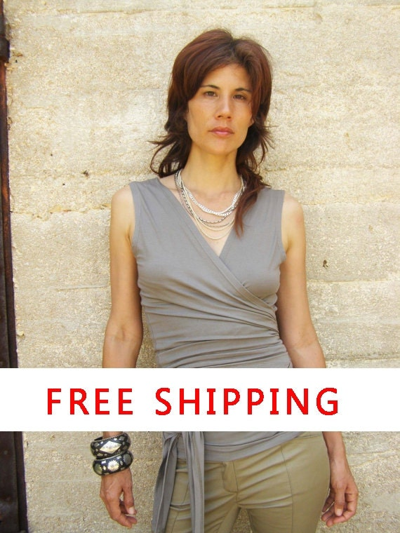 Free Shipping Womens clothing-Wrap tank top-Summer tops-Sleeveless top-Taupe/smokey Tank -2 ways top/  Sleeveless SNUGGLE UP TOP -Plus size