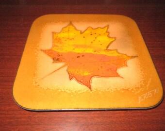 "Vintage Beautiful 7"" Copper Enamel Perfect Orange Maple Leaf Signed Wall Plaque"