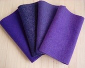 """Hand Dyed Wool Felt, PANSY, Four 6.5"""" x 16"""" pieces in Deep Violet Purple, Perfect for Rug Hooking, Applique', and Crafts"""