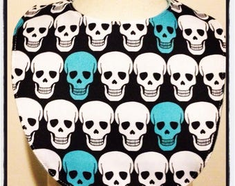 Sale teal and white skulls baby bib