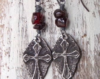 Sale Rustic Cross Earrings Garnet Gemstone Artisan Pewter Cross Dangle Earrings Sterling Silver Spiritual Earrings Religious Birthstone Jewe