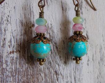 Czech Glass Earrings Boho Earrings Turquoise Earrings Pink Green Blue Earrings Vintage Style Dangle Drop Gift Small Light Dainty Earrings