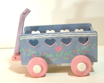 Little Decorative Wood Wagon With Hearts, Midwest Importers