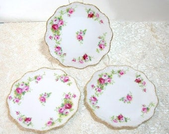 "A. Lanternier & Co Limoges 7"" scalloped Roses Plates, Set of Three"