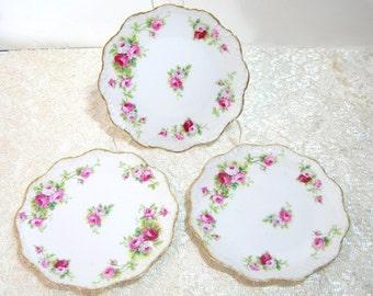 "A. Lanternier & Co Limoges 7"" scalloped Roses Plates, Set of Three"