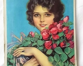 Vintage Pin Up Note Book Pad Earl Christy Woman Roses Blotter in Pad