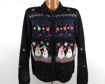 Ugly Christmas Sweater Vintage Cardigan Party Holiday Tacky Snowmen Women's size L