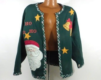 Ugly Christmas Sweater Vintage Sweatshirt Ho Made Santa Tacky Holiday Cardigan