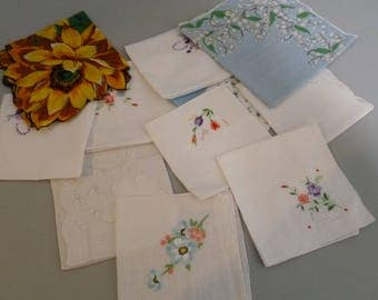 10 Vintage Handkerchiefs Hankies Floral Embroidery For Use or Cutting