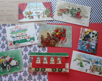 Christmas Conveyances for Holiday Fun in Vintage Christmas Card Lot No 1036 Total of 8 Santa in a Jalopy Peek A Boo Trolley Car