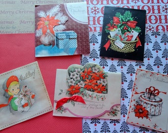 Christmas PRESENTS is the Focus in Christmas Card Lot No 1063 Gift Wrap in 1940s Era Cards Total of 5