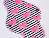 """10"""" Heavy Cloth Pad, Minky Cloth Menstrual Pad, MotherMoonPads, Short Overnight Pad, Incontinence Pad, Hearts Minky, Windpro"""