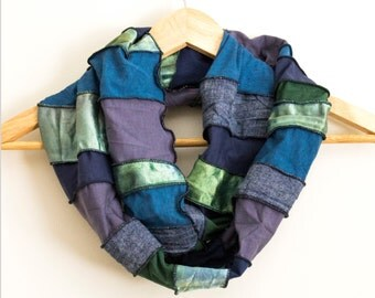 READY TO SHIP - Free Form Infinity Scarf - Eco Accessory - Made from Organic Fabrics - Blues and Greens - One of a Kind - Gift - Boho
