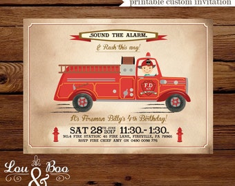 Printable Fire Engine kids birthday party invitation - vintage fire truck invite, customise with your child's hair colour