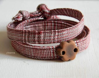 Textile wrap bracelet. Men bracelet.  Fabric wristband.  Ceramic bracelet. Made in Italy. Glen plaid. Rust and brown.