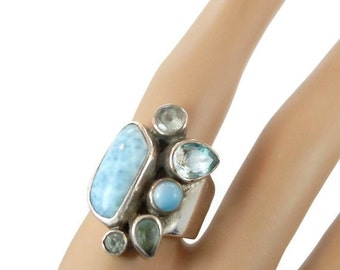 ON SALE Larimar Ring, Blue Topaz, Sterling Silver, Vintage Ring, Multi Gemstone, Mixed Stones, Blue Ring, Dolphin Stone, Big Long Piece, Siz