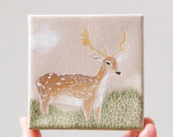 deer in the marsh / original painting on canvas