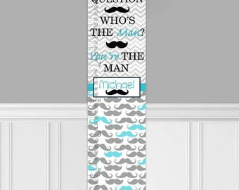 Canvas GROWTH CHART Aqua Grey Moustache Chevron Kids Bedroom Nursery Personalized Kids Growth Chart Height Chart Gc0313